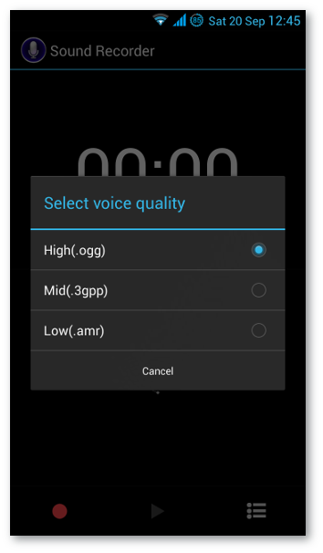 Sound Recorder - selecting high quality
